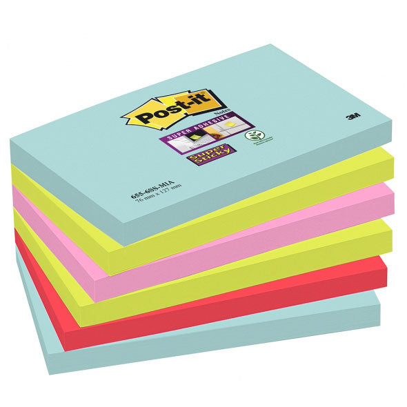 Blocco 3M Post-It 76X127 Super Sticky Colori Miami Cf.6