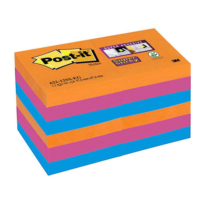 Blocco 3M Post-It 47,6X47,6 Super Sticky Colore Bangkok Cf.12