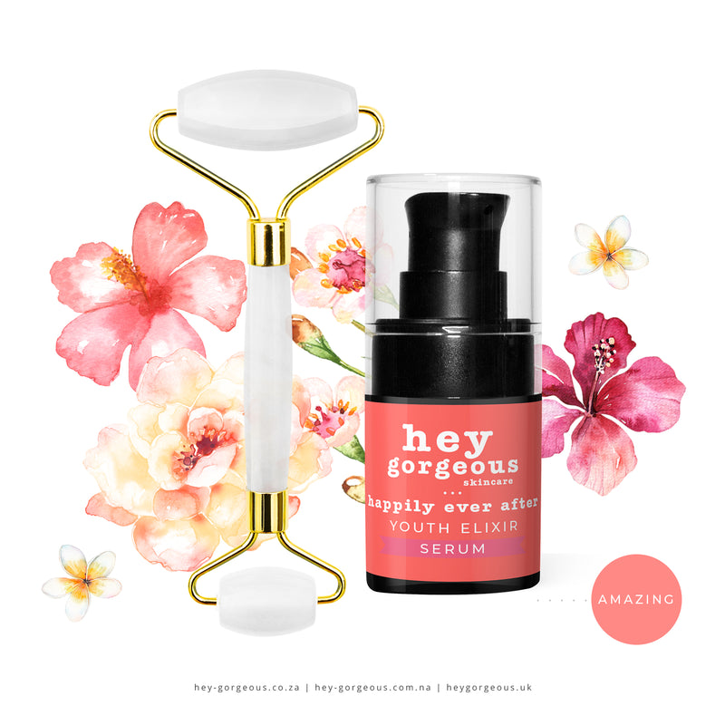 Clear Crystal Quartz Stone Roller + FREE Happily Ever After Mini Serum
