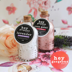 Rose Petal & Lavender Bath Salts Glass Bottles - Hey Gorgeous