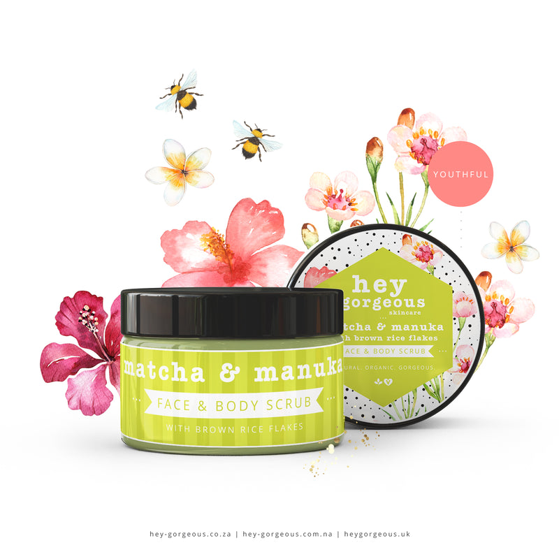 Matcha & Manuka Face & Body Scrub With Brown Rice Flakes