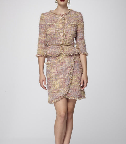 Italian Bouclé Signature Tweed Suit-Tailored Jacket & Skirt Suit