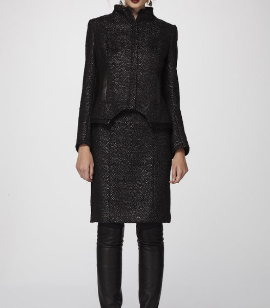 Black n' Charcoal Donegal textured Italian Wool Jacket & Pencil Skirt accented with Soft Black Lambskin Leather Trim.
