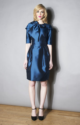 Bonita Wedgewood Bow Silk Wool Cocktail Dress