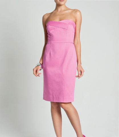 Strapless Cotton Pique Shift Dress