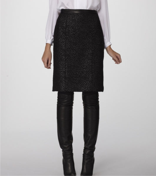 Black n' Charcoal Donegal textured Italian Wool Pencil Skirt accented with Soft Black Lambskin Leather Waistband