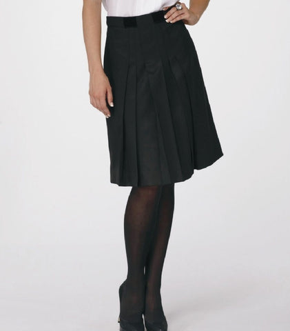 Pert Knife-Pleated Black Wool Skirt with Black Velvet Bow.