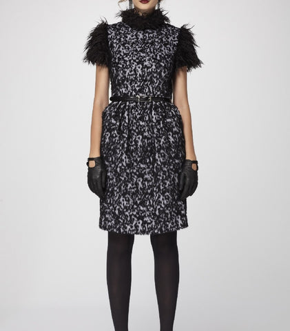 Black n' White Animal Textured Mohair Sheath Dress with Faux Fur Shoulders & Neck Trims.