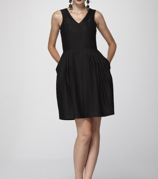 Cheeky Black Silk Brocade Pleated V-Neck Dress with side slash Pockets.