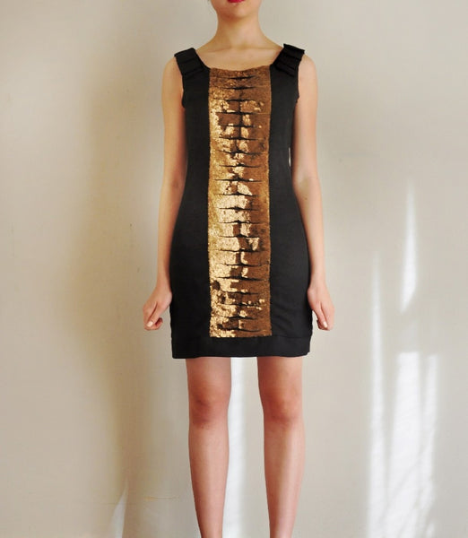 Gold Sequined Black Sheath Dress