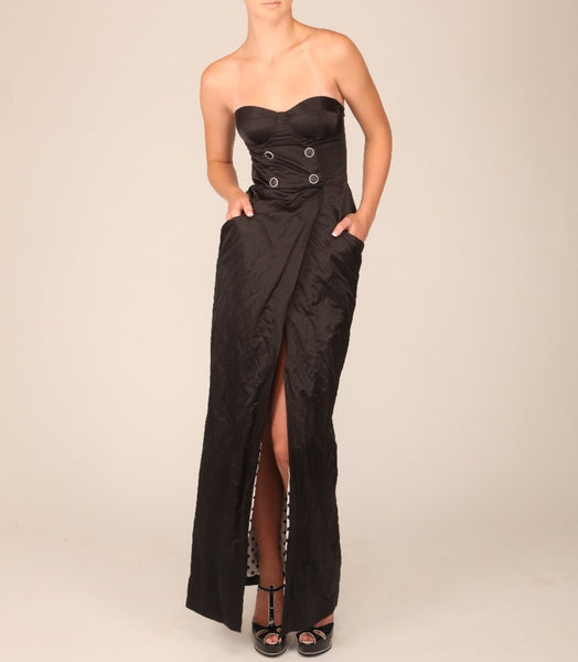 Strapless Crinkle Poly Long Wrap Dress