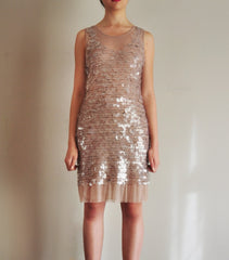 Striking Nude Paillette Dress