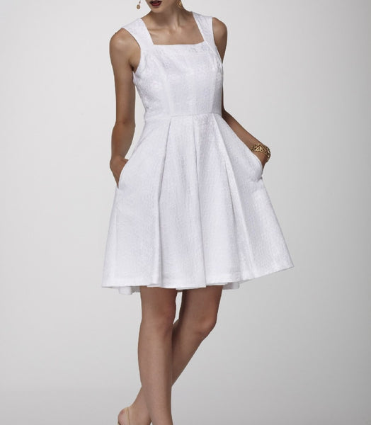 White Box-Pleated Floral Jacquard Dress with Side Pockets
