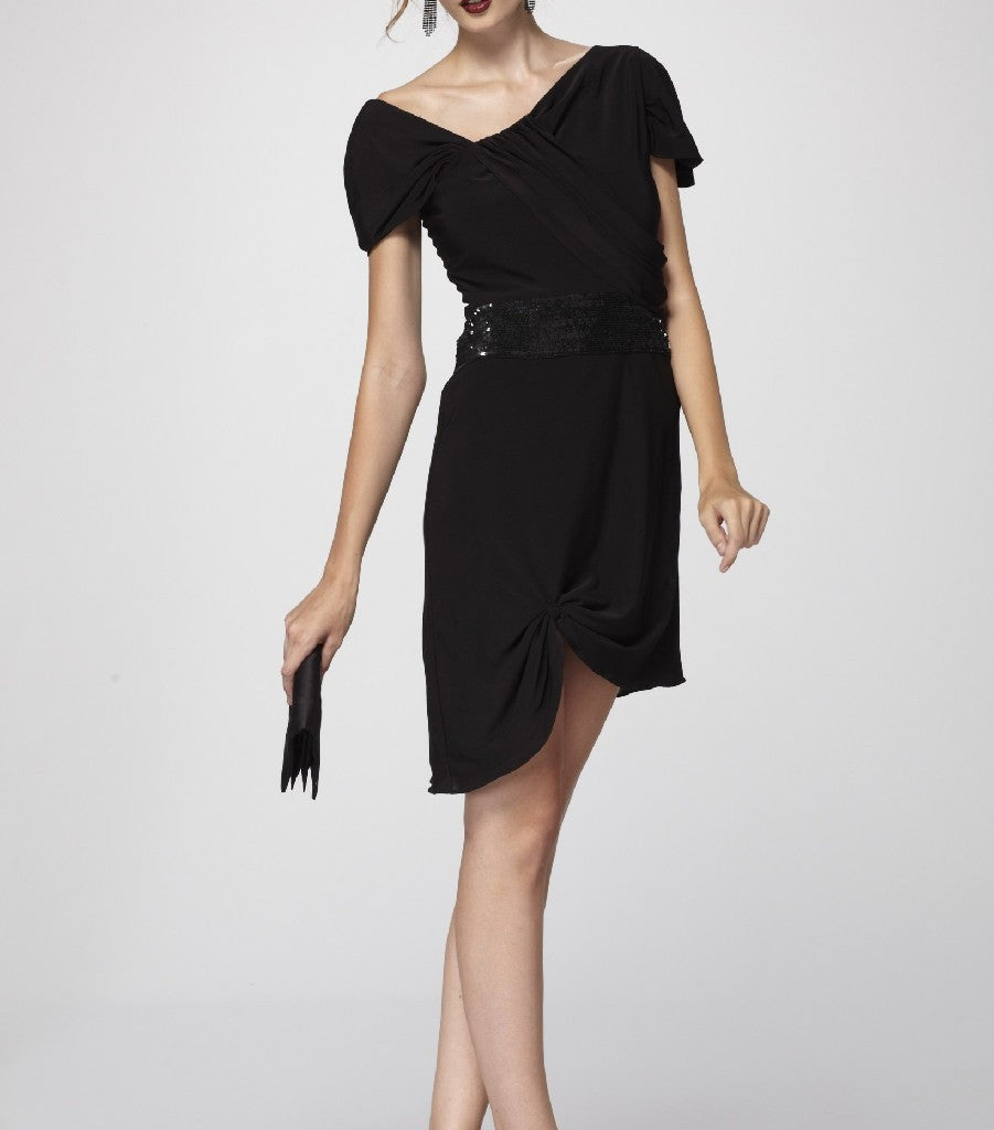 b7effe0b7d0 Sophisticated Black Draped Knit Asymmetric Cocktail Dress with Black  Sequined Waistband.