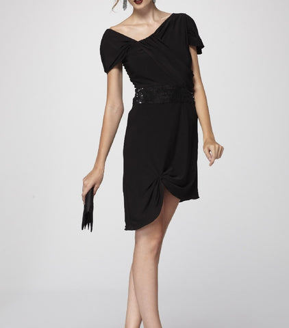 Sophisticated Black Draped Knit Asymmetric Cocktail Dress with Black Sequined Waistband.