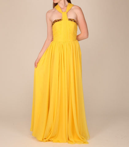 Red Carpet Silk Chiffon Halter Neck Gown
