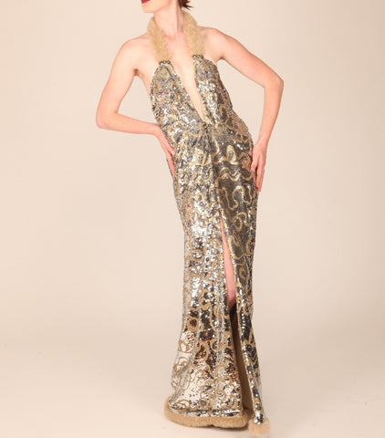 Red Carpet Silver Sequin Draped Haltered Gown