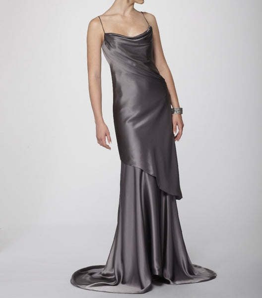 Luxuriously Draped Graphite Silk Charmeuse 1930s Couture Gown.