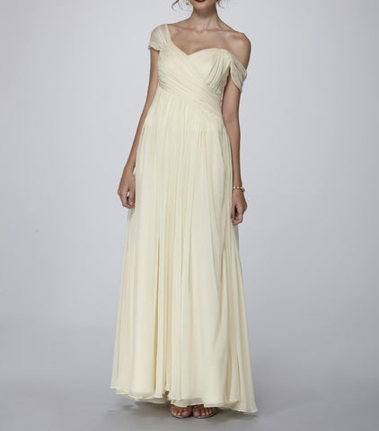 Exquisite Soft Lemon Beige graciously draped Silk Chiffon Couture Gown. Couture Collection