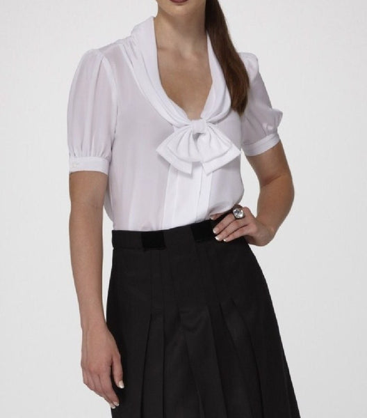 Silk Crepe de Chine Blouse with draped Collar with accented Bow & Short Buttoned Sleeves.
