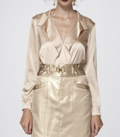 Luxurious Peach-Cream Stretch Silk Charmeuse Blouse