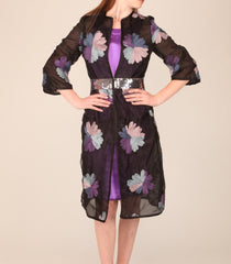 Black Organza Coat with Black & Purple Applique Flowers