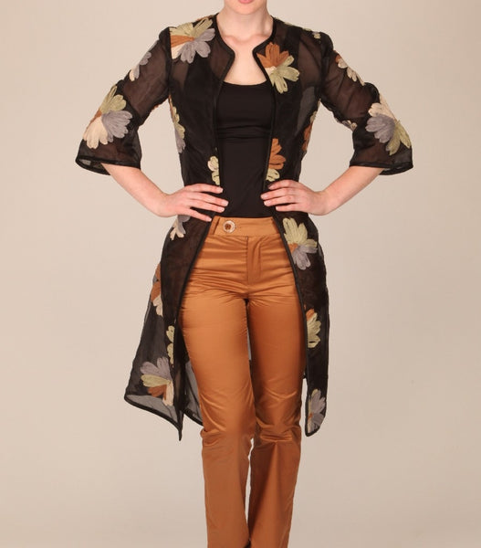 Black Organza Coat with Brown & Beige Applique Flowers