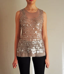 Sumptuous Nude Paillette Top