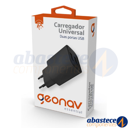 Carregador Turbo 2 Portas Usb 2.1a Geonav iPhone Android Preto