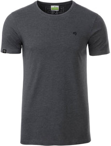 Bio-Baumwolle T-Shirt COMPANIEER Organic Cotton Gray Black Schwarz Grau Heather Melange