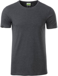 Bio-Baumwolle T-Shirt COMPANIEER Organic Cotton Grau Schwarz Black Gray Melange Heather