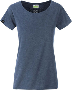 Organic Cotton Tshirt - COMPANIEER Bio-Baumwolle Denim Melange Blue Heather Blau