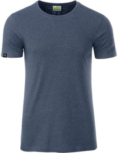 Bio-Baumwolle T-Shirt COMPANIEER Organic Cotton Blau Blue Melange Denim Heather