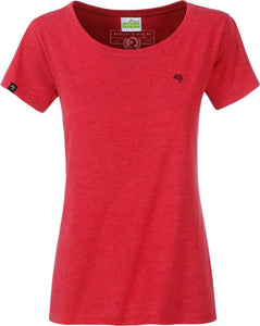 Organic Cotton Tshirt - COMPANIEER Bio-Baumwolle Red Melange Rot Heather