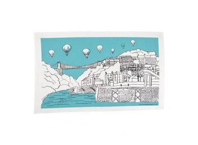 Clifton balloons tea towel one colour - teal