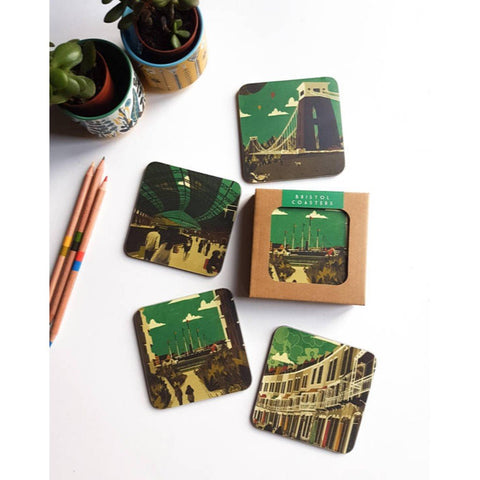 Bristol Coasters Green Pack, set of 4 by Emy Lou Holmes