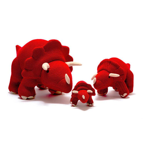 Medium Knitted Triceratops - Red