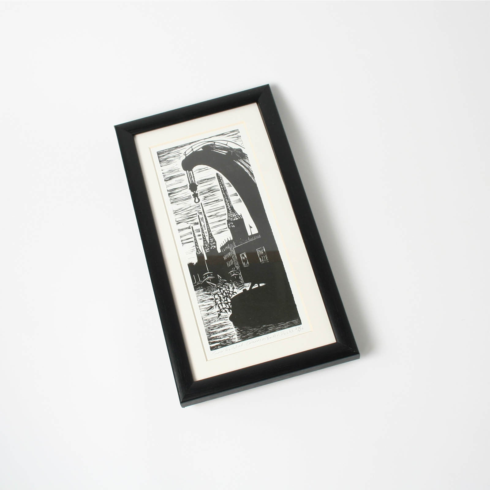 Cranes on Bristol Docks Small Framed Print by Trevor Haddrell