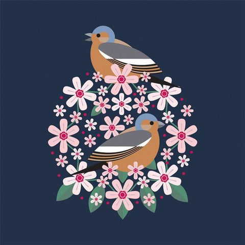 Chaffinch & Blooms Greeting Card