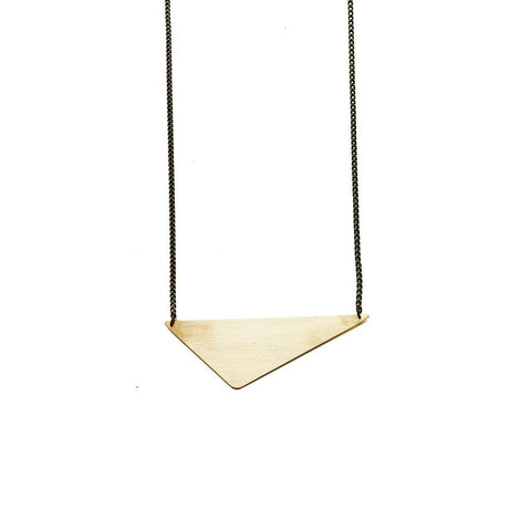 Geometric Brass Offset Triangle Pendant