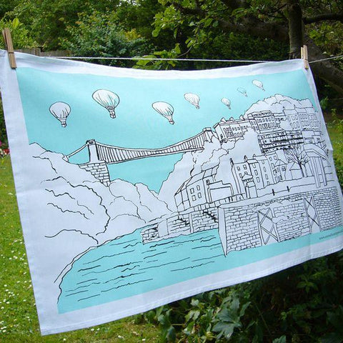 Clifton Balloons Bristol Tea Towel by Emmeline Simpson