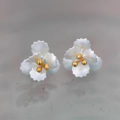 Cherry Blossom Silver & Gold Stud Earrings
