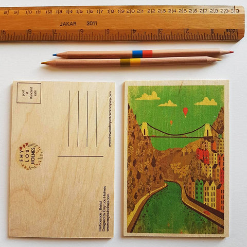 Bristol Wooden Postcard by Emy Lou Holmes - various designs