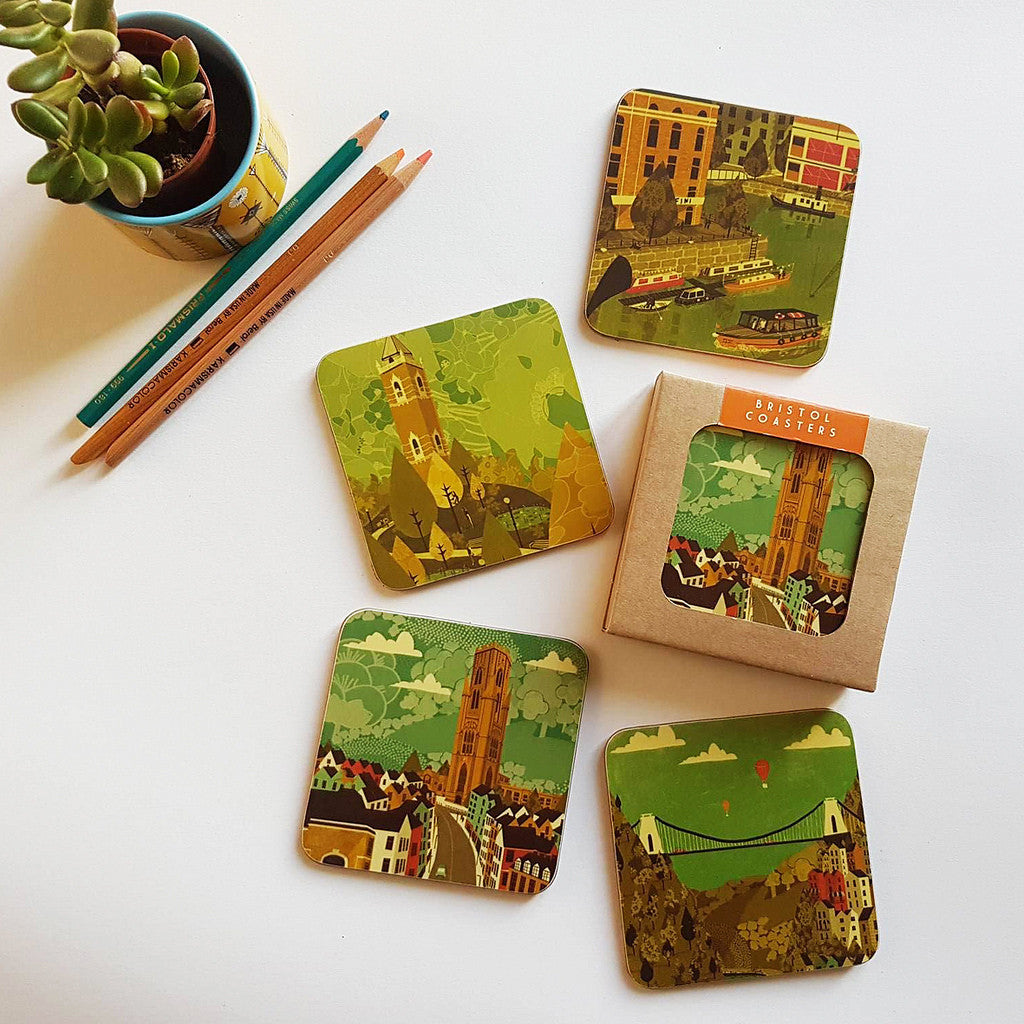 Bristol Coasters Park Street Pack Red set of 4 by Emy Lou Holmes