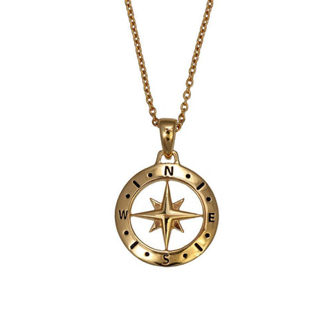 Love Compass Gold Necklace