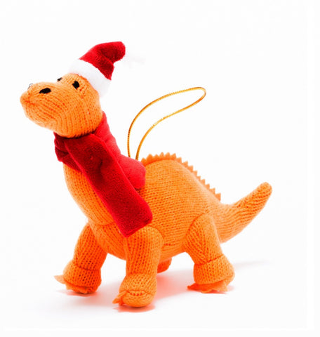 Knitted Diplodocus Christmas Decoration