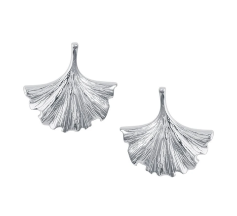 Ginkgo Leaf Silver Stud Earrings