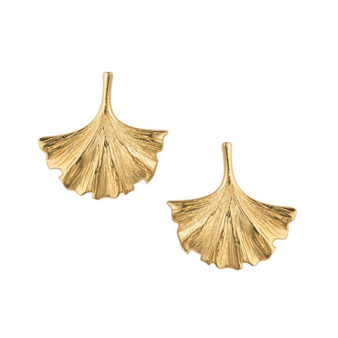 Ginkgo Leaf Gold Stud Earrings