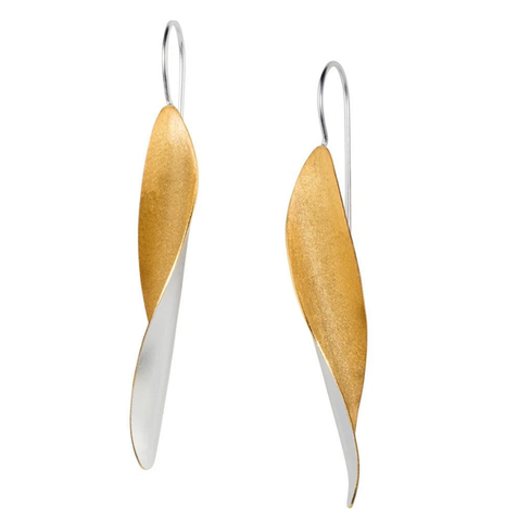 Long Leaf Silver & Gold Earrings