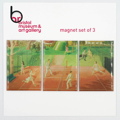 Tennis Triptych Magnet Set of 3